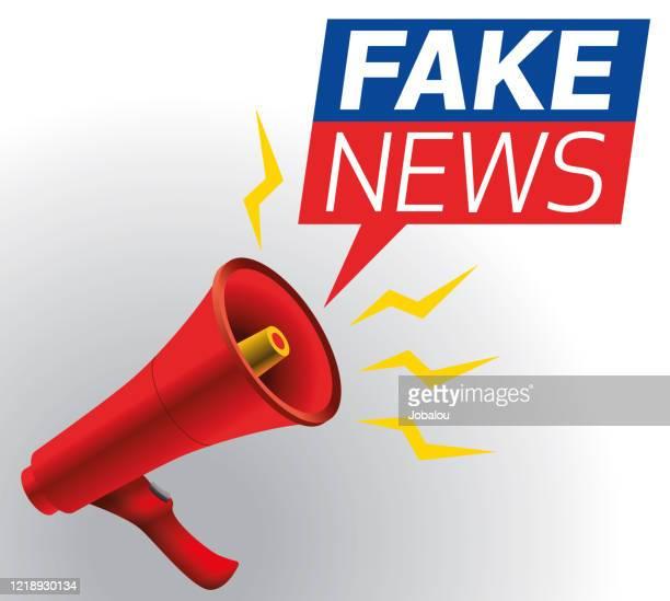 ilustrações, clipart, desenhos animados e ícones de alto-falante de etiqueta de fake news por megafone vermelho - fake news