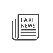 Fake news line icon vector