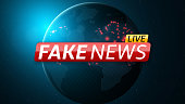 Fake news live and abstract planet earth. Red glossy banner with text. Space and stars. High tech. Vector illustration