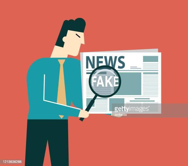 fake news - magnifier - businessman - newsletter stock illustrations