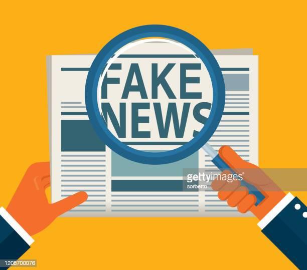 ilustrações, clipart, desenhos animados e ícones de jornal fake news - fake news