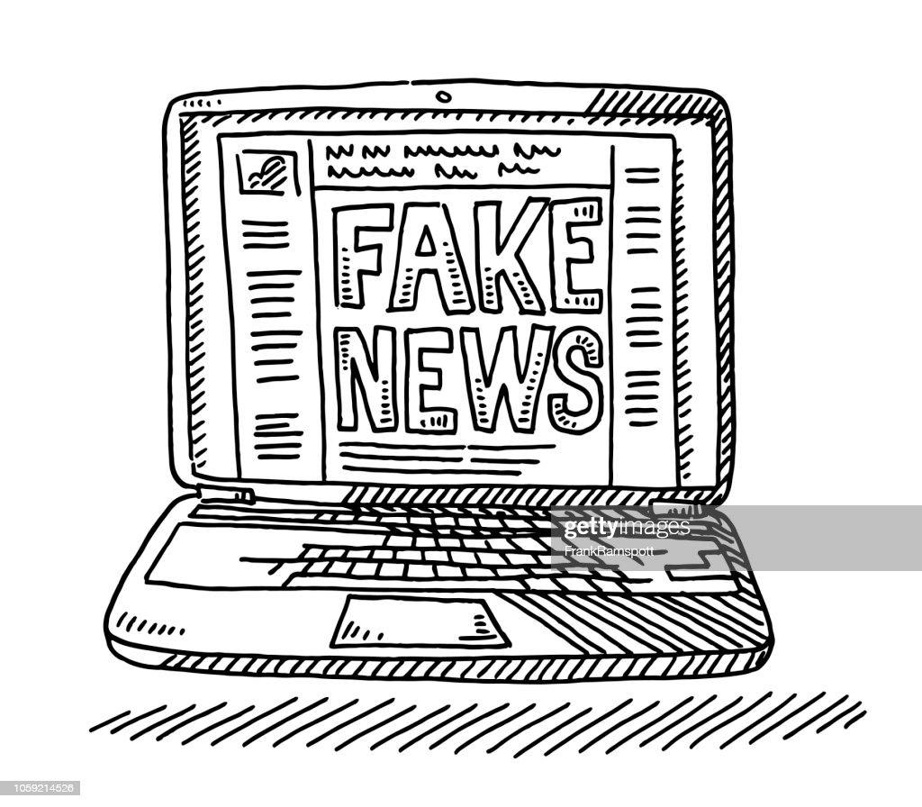 Gefälschte Nachrichten Social Network Laptop Computer Zeichnung : Stock-Illustration
