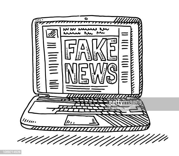 fake news social network laptop computer drawing - artificial stock illustrations