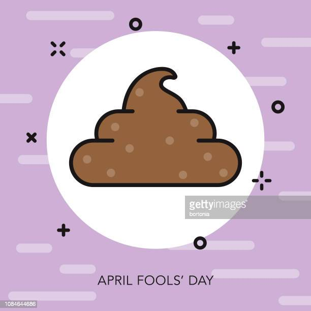 fake poo thin line april fools day icon - feces stock illustrations, clip art, cartoons, & icons