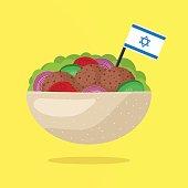 Falafel with Israeli Flag. Vegetarian Fast Food. Vector