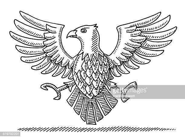 falcon bird heraldic symbol drawing - falcon bird stock illustrations, clip art, cartoons, & icons