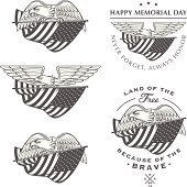 Falcon (eagle) flying with American flag