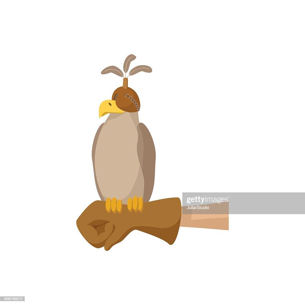 Falcon hunting cartoon icon