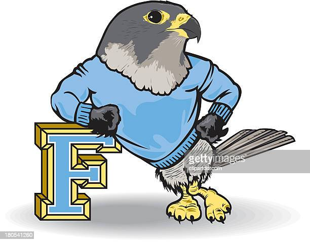 falcon leans on letter f - falcons stock illustrations, clip art, cartoons, & icons