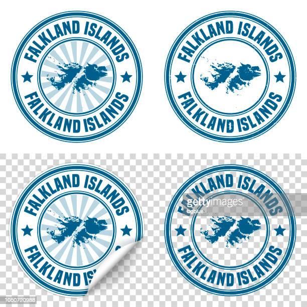 ilustraciones, imágenes clip art, dibujos animados e iconos de stock de islas malvinas - etiqueta engomada azul y sello con nombre y mapa - islas malvinas