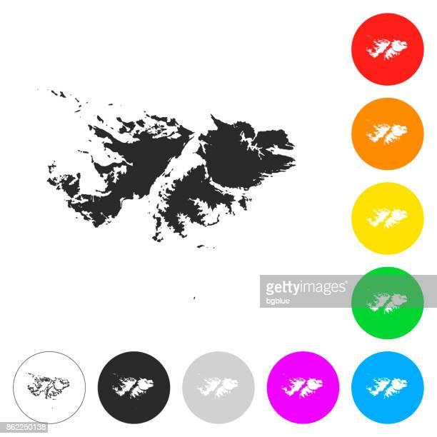 ilustraciones, imágenes clip art, dibujos animados e iconos de stock de mapa de las islas malvinas - planos iconos en botones de diferentes colores - islas malvinas