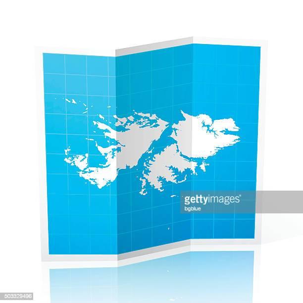 ilustraciones, imágenes clip art, dibujos animados e iconos de stock de islas malvinas mapas plegados, aislado sobre fondo blanco - islas malvinas