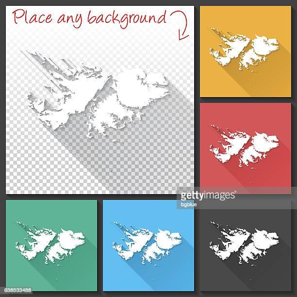 ilustraciones, imágenes clip art, dibujos animados e iconos de stock de falkland islands map for design, long shadow, flat design - islas malvinas