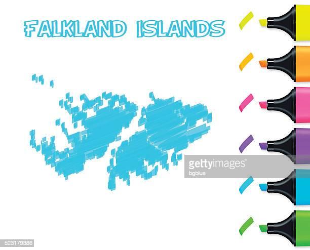 ilustraciones, imágenes clip art, dibujos animados e iconos de stock de islas malvinas mapa dibujado a mano sobre un fondo blanco, azul marcador - islas malvinas