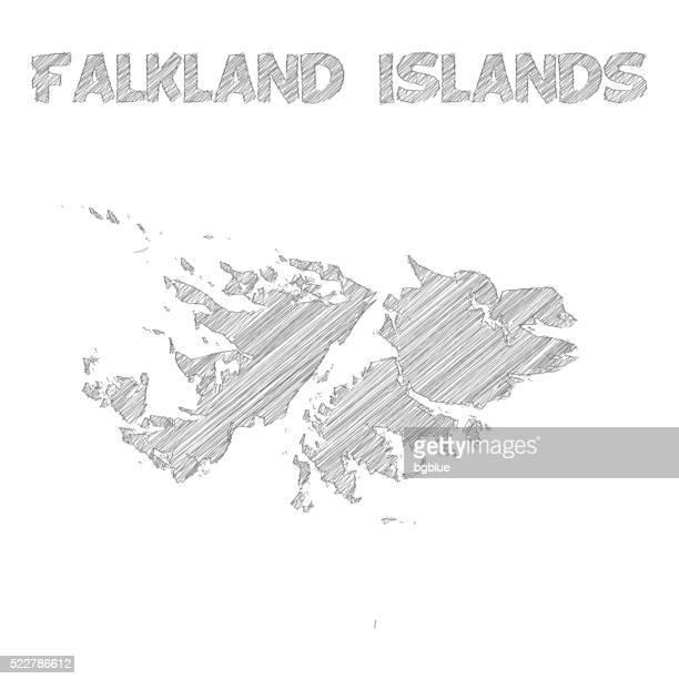 ilustraciones, imágenes clip art, dibujos animados e iconos de stock de islas malvinas mapa mano dibujado sobre fondo blanco - islas malvinas
