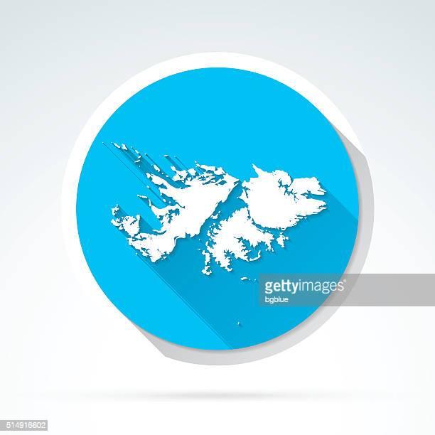 ilustraciones, imágenes clip art, dibujos animados e iconos de stock de islas malvinas mapa icono de diseño plano sombra, largo - islas malvinas
