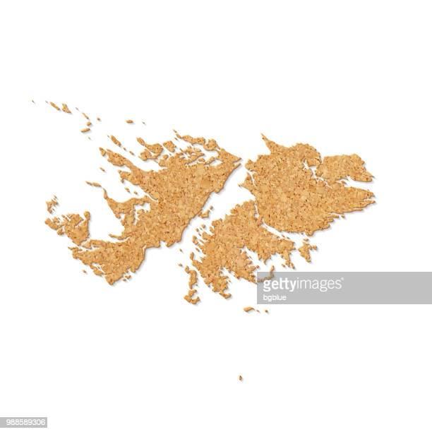 ilustraciones, imágenes clip art, dibujos animados e iconos de stock de mapa de las islas malvinas en textura de placa de corcho sobre fondo blanco - islas malvinas
