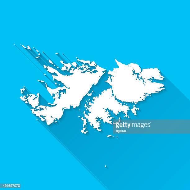 ilustraciones, imágenes clip art, dibujos animados e iconos de stock de islas malvinas mapa sobre fondo azul, larga sombra, diseño plano - islas malvinas