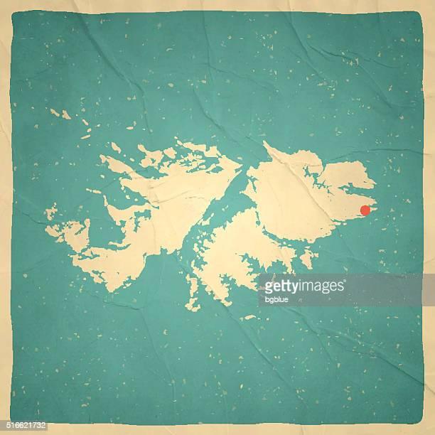 ilustraciones, imágenes clip art, dibujos animados e iconos de stock de islas malvinas mapa antiguo con textura de papel vintage - islas malvinas
