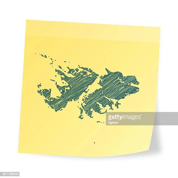 ilustraciones, imágenes clip art, dibujos animados e iconos de stock de islas malvinas mapa en pegajoso nota con efecto garabato - islas malvinas