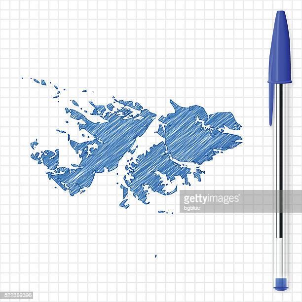 ilustraciones, imágenes clip art, dibujos animados e iconos de stock de islas malvinas dibujo mapa de red, azul pluma de papel - islas malvinas