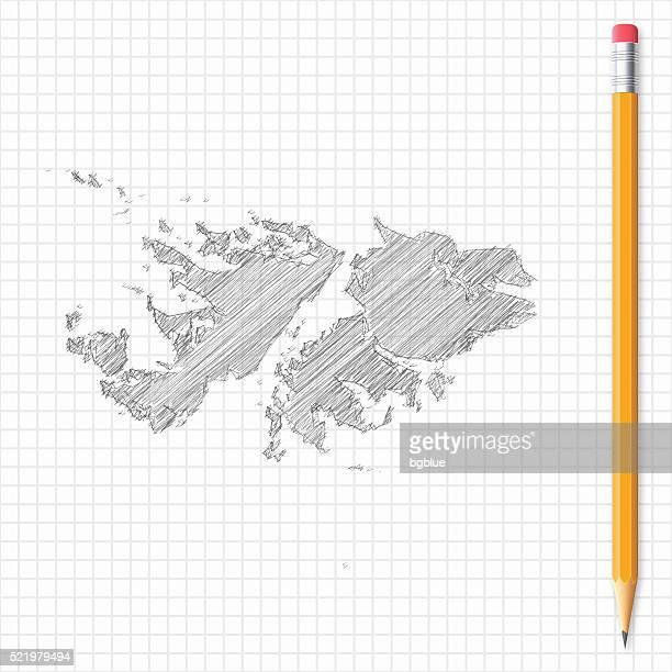 ilustraciones, imágenes clip art, dibujos animados e iconos de stock de islas malvinas mapa de dibujo con lápices en red de papel - islas malvinas