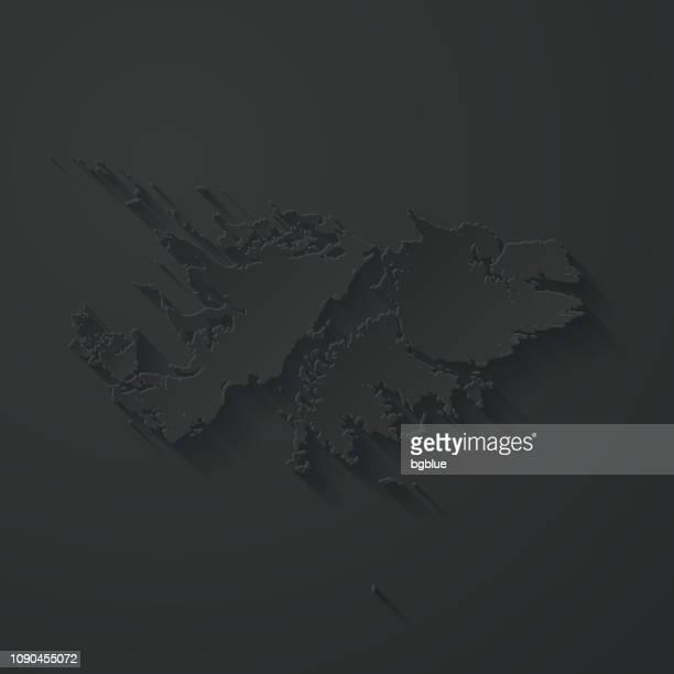 ilustraciones, imágenes clip art, dibujos animados e iconos de stock de mapa de las islas malvinas con el papel cortado efecto sobre fondo negro - islas malvinas