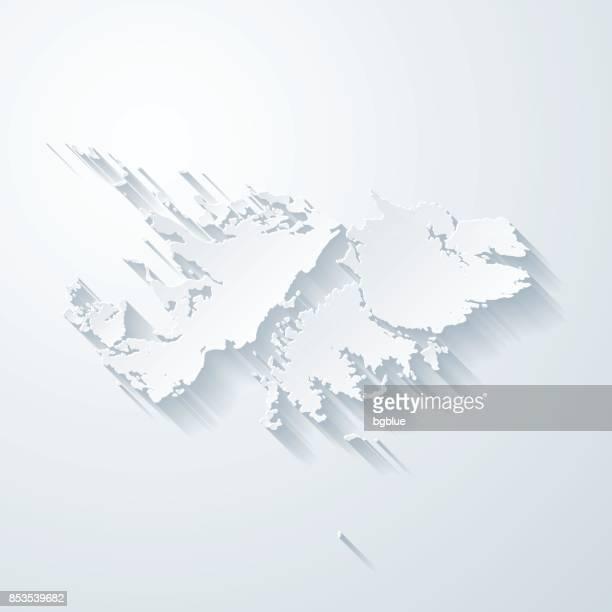 ilustraciones, imágenes clip art, dibujos animados e iconos de stock de mapa de las islas malvinas con el papel cortado efecto sobre fondo blanco - islas malvinas