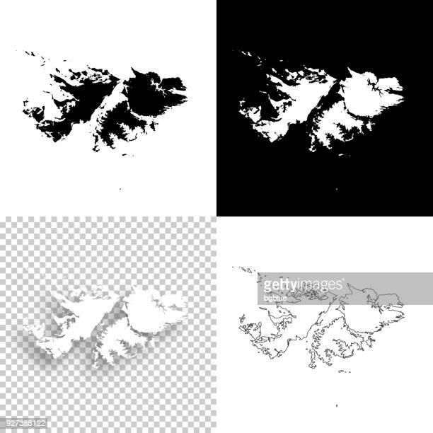 ilustraciones, imágenes clip art, dibujos animados e iconos de stock de mapas de las islas malvinas para el diseño - en blanco, blancos y negros fondos - islas malvinas