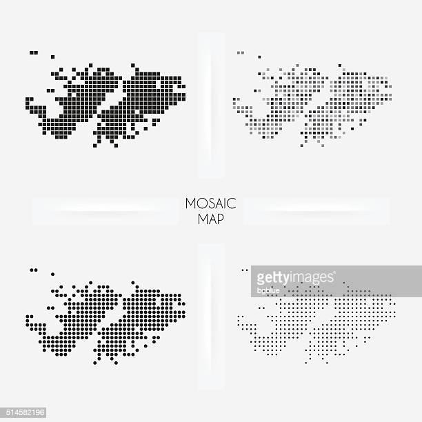 Islas Malvinas mapas de mosaico squarred y salpicado