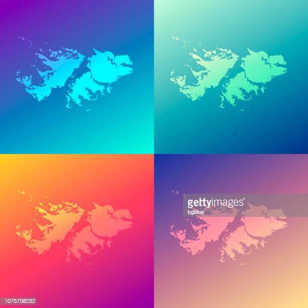 ilustraciones, imágenes clip art, dibujos animados e iconos de stock de mapas de las islas malvinas con gradientes de colores - moda fondo - islas malvinas