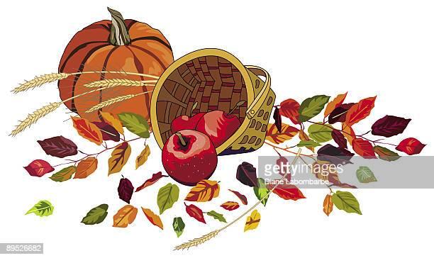秋のリンゴと葉 - clip art点のイラスト素材/クリップアート素材/マンガ素材/アイコン素材