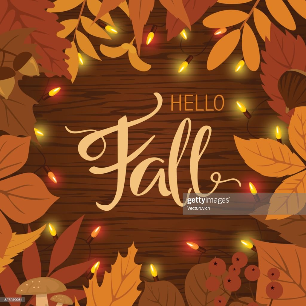 fall autumn border frame background with leaves and light bulbs garland