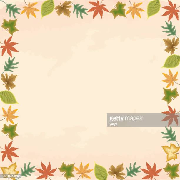fall, autumn leaves, background, banner and frame - gift tag note stock illustrations, clip art, cartoons, & icons