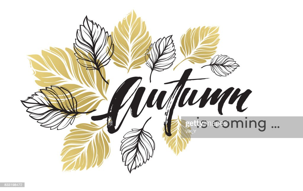 Fall background design with golden and black autumn leaves. Vector illustration