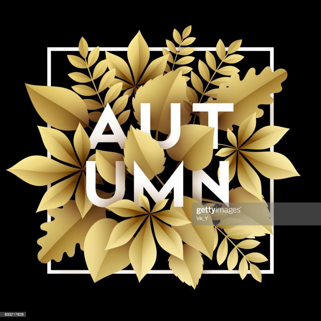 Fall background design with golden paper cut autumn leaves. Vector illustration