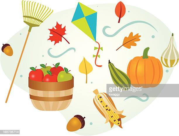fall collection - raking leaves stock illustrations, clip art, cartoons, & icons