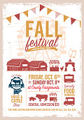 Fall festival agricultural show poster design template