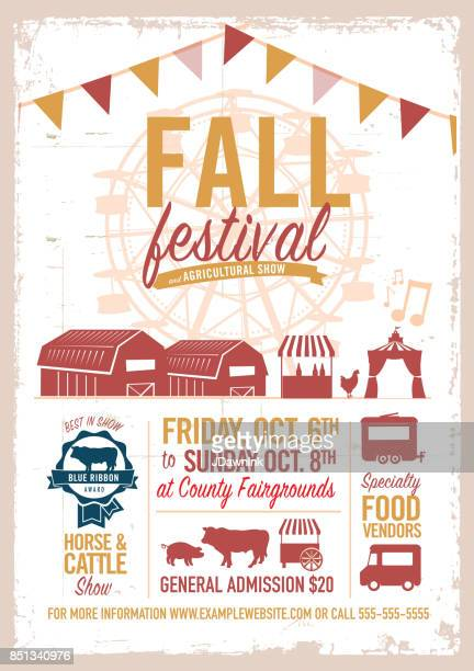 fall festival agricultural show poster design template - agricultural fair stock illustrations, clip art, cartoons, & icons