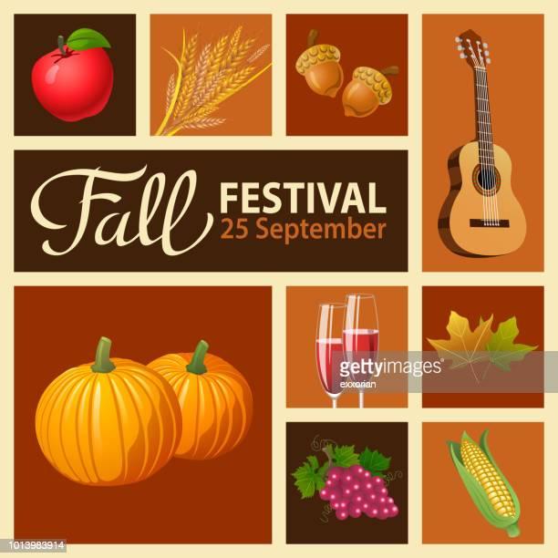 fall festival harvest celebration - harvest festival stock illustrations