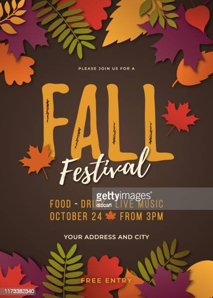 illustrazioni stock, clip art, cartoni animati e icone di tendenza di fall festival poster template. - marrone