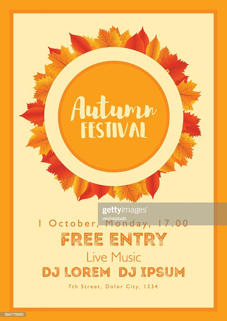 Fall Festival template. Bright colourful autumn leaves on vertical background.