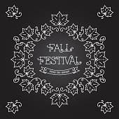 Fall Festival template posters Frame maple leaves