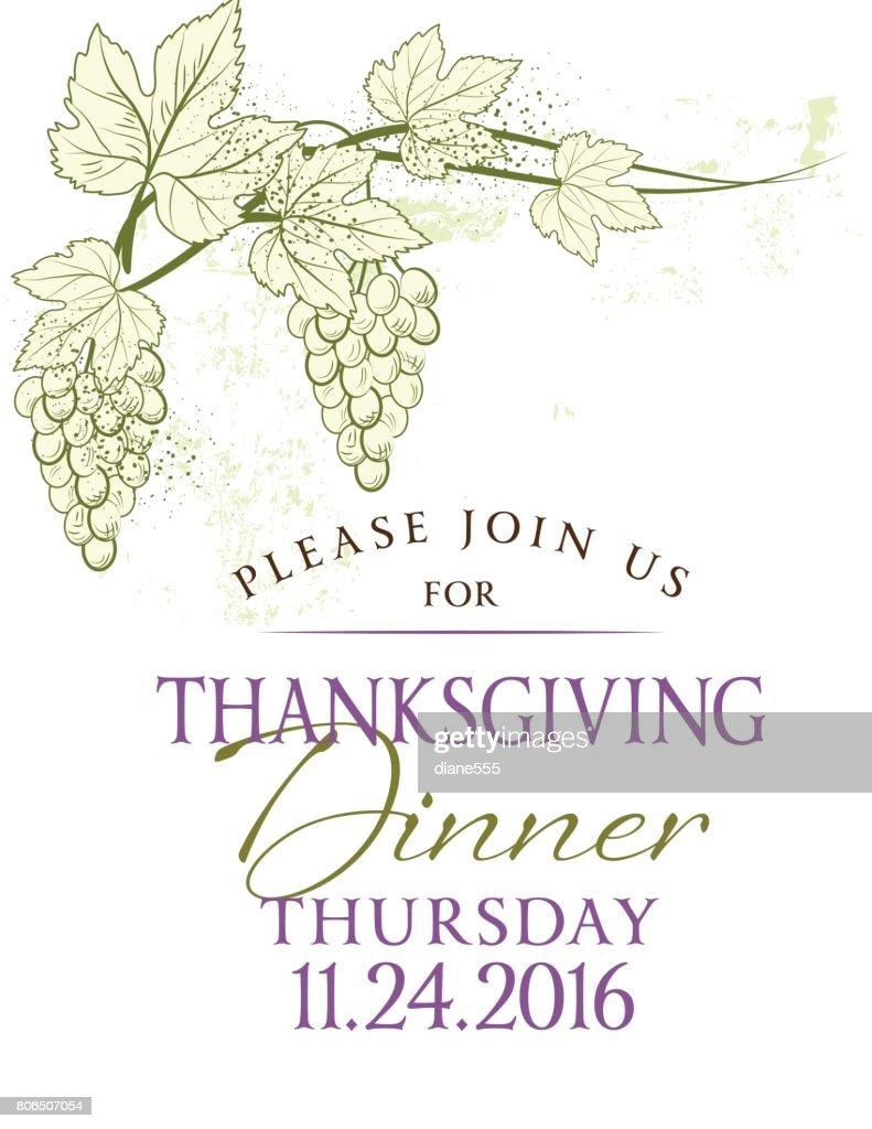 Fall Grapevine Thanksgiving Invitation Template Vector Art Getty