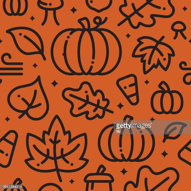 fall halloween seamless background - autumn stock illustrations