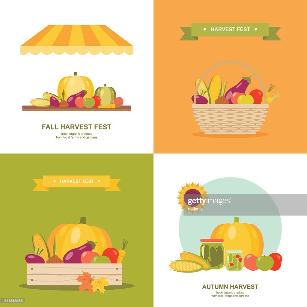 Fall harvest festival vector illustrations set