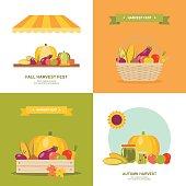 Fall harvest festival vector illustrations set