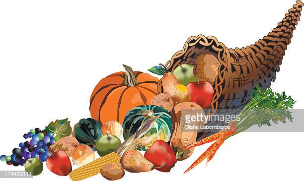 Fall Harvest Wicker Cornucopia Filled With Fruits and Vegetables