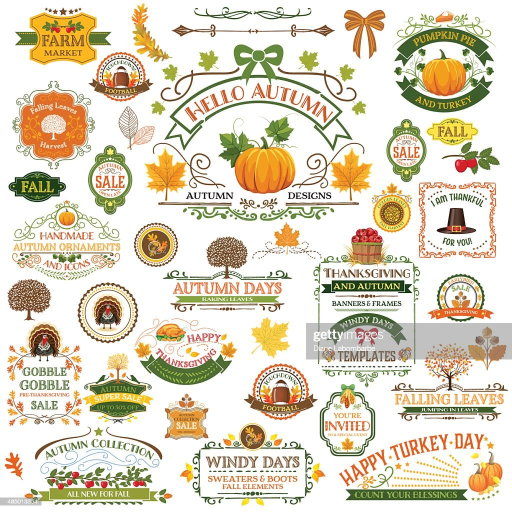 Fall Labels And Ornaments - Decorative elemnts