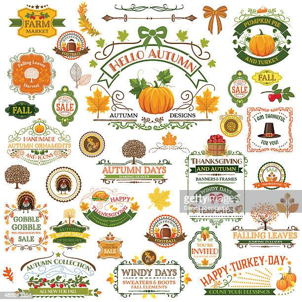 fall labels and ornaments - decorative elemnts - harvesting stock illustrations